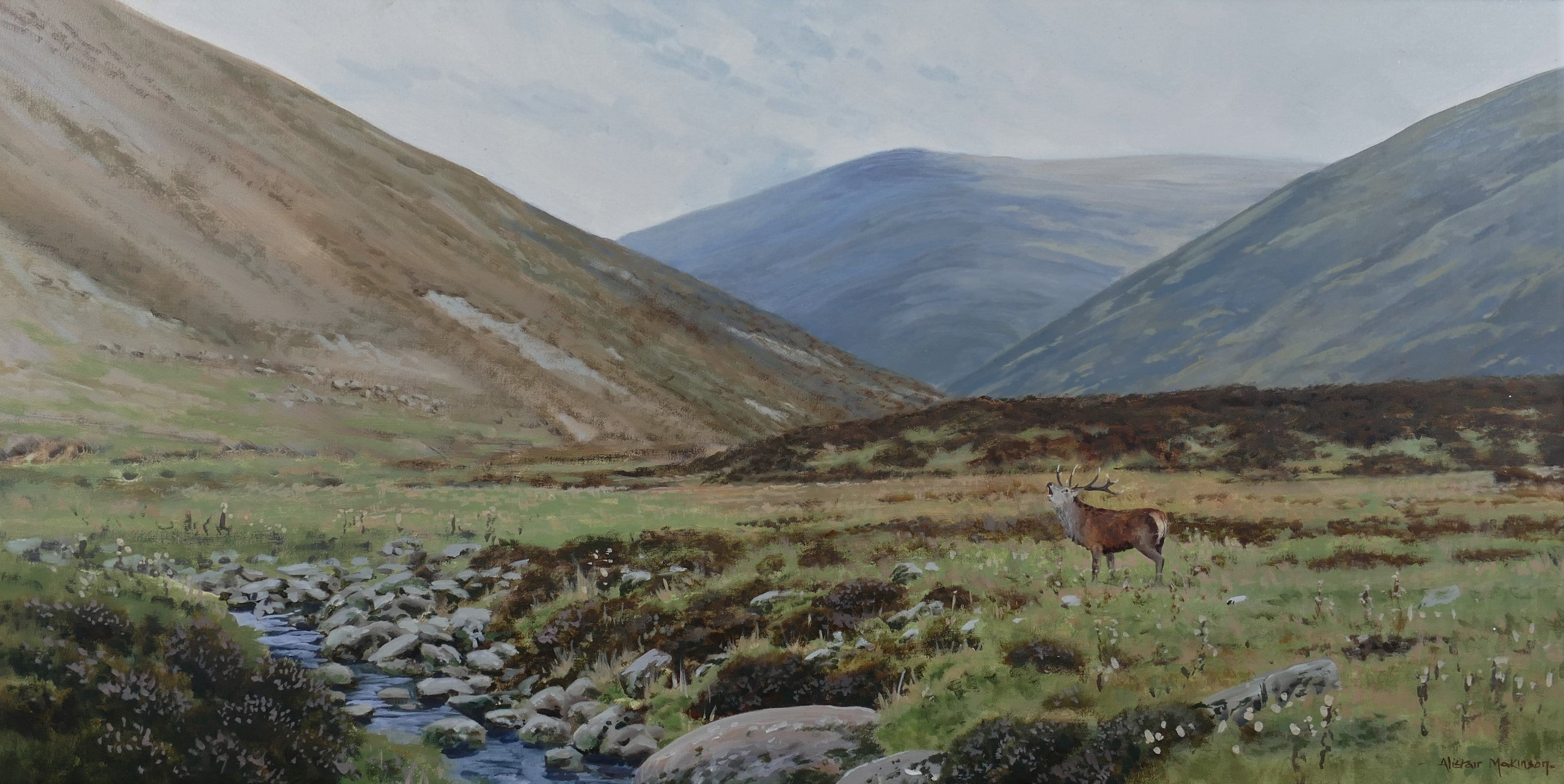'Rutting Stag' - Original Oil Painting by Alistair Makinson - 40 x 80cm