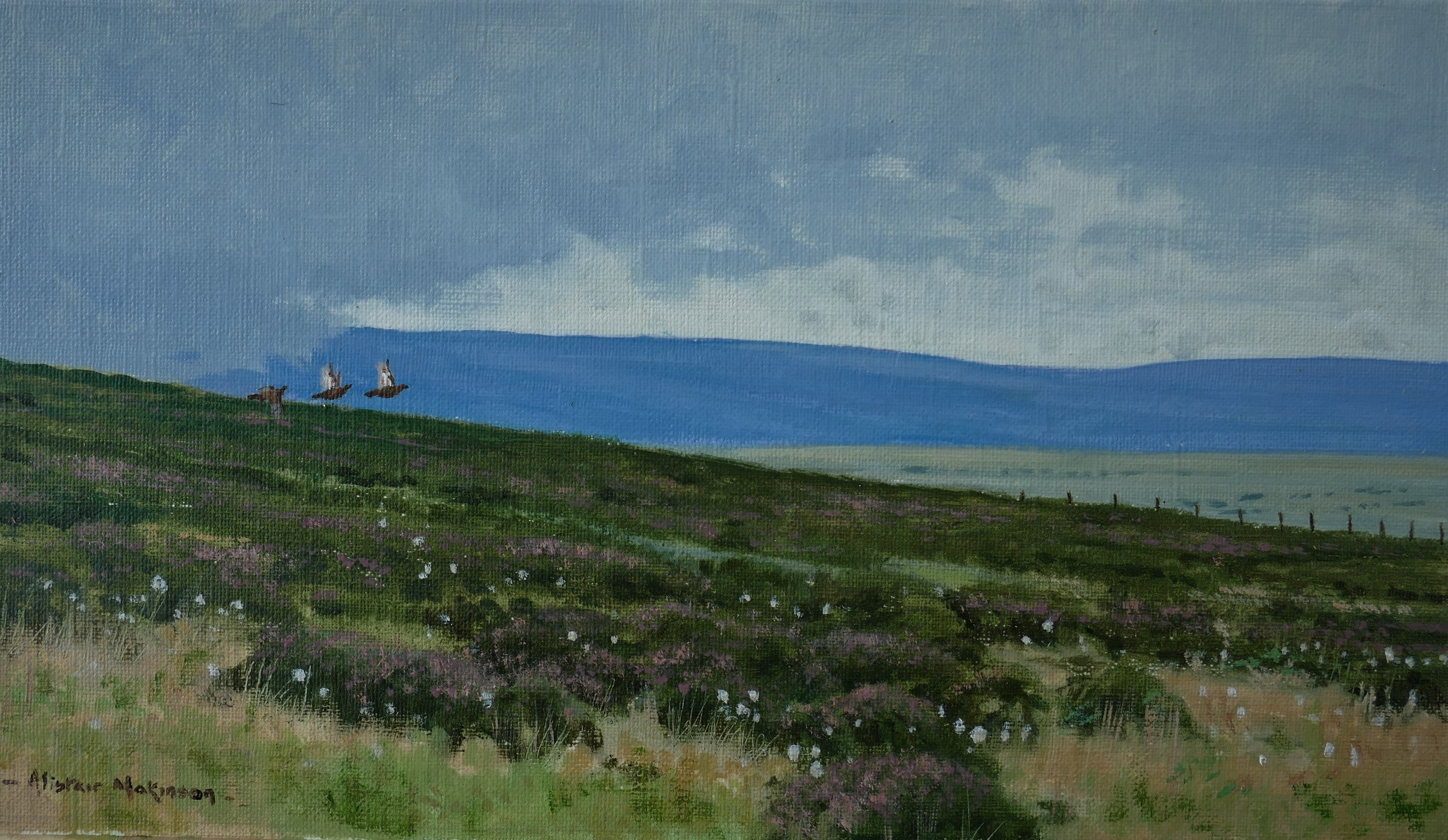 'Approaching Shower' - Original Oil Painting by Alistair Makinson - 15 x 26cm