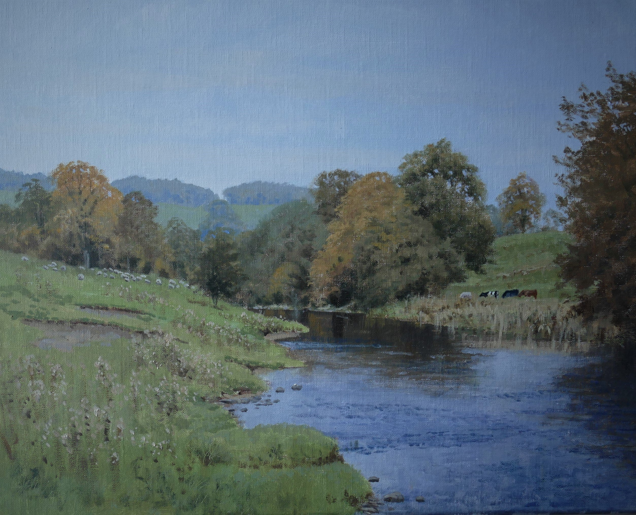 'Autumn on the Hodder' - Original Oil Painting by Alistair Makinson - 40 x 50cm