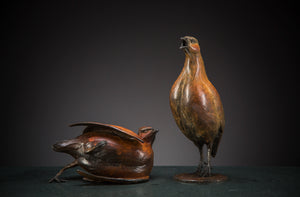 'Dusting Partridges' Limited Edition Bronze Sculpture by Ian Greensitt