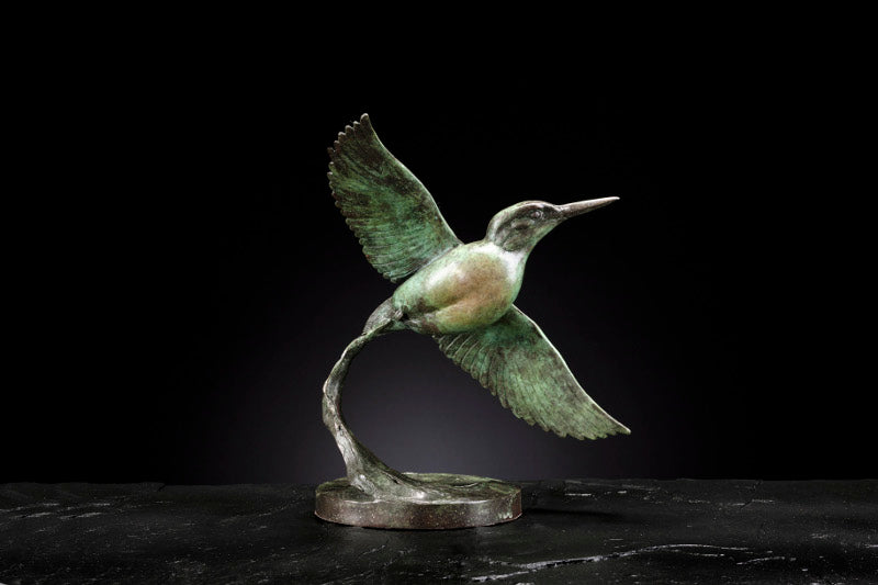 'Kingfisher Flying' Limited Edition Bronze Sculpture by Ian Greensitt