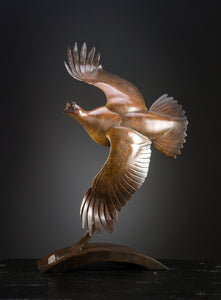 'Grouse Flying' - Limited Edition Bronze sculture by Ian Greensitt