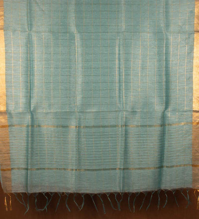 Green Pure Tussar Silk Handwoven Saree | 22152102