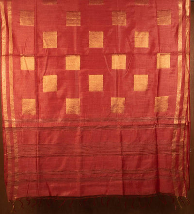 Red Pure Muga Silk Handwoven Saree | 22160101