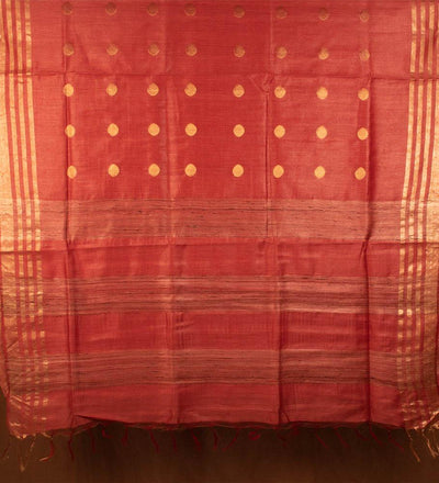Red Pure Muga Silk Handwoven Saree | 22161101