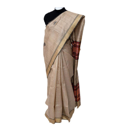Natural Pure Tussar Natural Coral Silk Handwoven Saree | 22166101