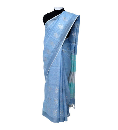 Turquoise Periwinkle Silver Linen Handwoven Saree | 22169101