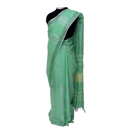 Green Mint Silver Linen Handwoven Saree | 22170101