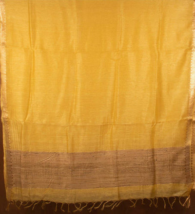 Yellow Pure Silk Linen Handwoven Saree | 22171101