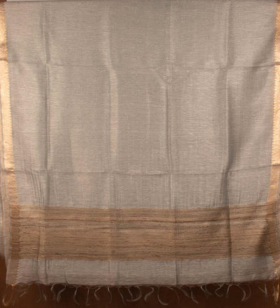 Bronze Pure Silk Linen Handwoven Saree | 22172101