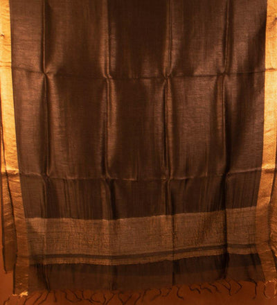 Black Pure Silk Linen Handwoven Saree | 22173101