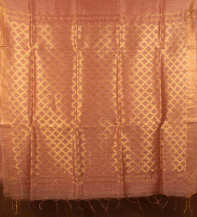 Gold Pure Silk Linen Handwoven Saree | 22175101