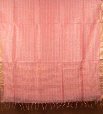 Pink Pure Silk Linen Handwoven Saree | 22176101