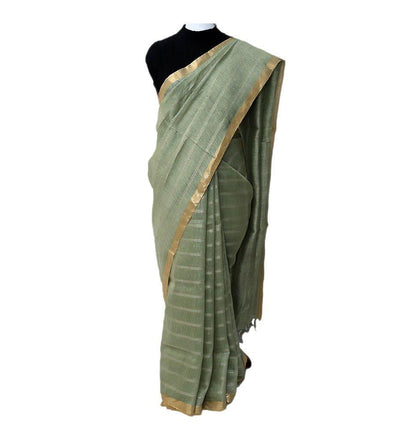 Green Fern Silk Linen Handwoven Saree | 22177101