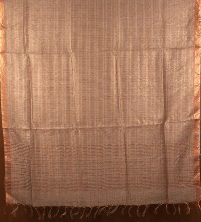 Bronze Pure Silk Linen Handwoven Saree | 22179101