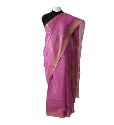 Pink Fuschia Pink Cotton Zari Handwoven Saree | 22180101