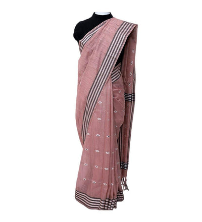 Pink Anar Cotton Dobby Handwoven Saree | 22182101