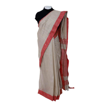 Red Ivory Coral Cotton Handwoven Saree | 22183101