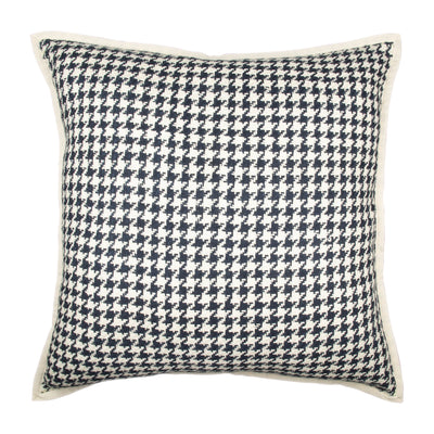 Houndstooth Matka Silk Binded Pillow cover Front+Back-Silk | 23090
