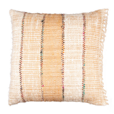Multicolor Neutral Stripes Cotton Viscose Fringed Pillow cover Front+Back-Tweed | 23098