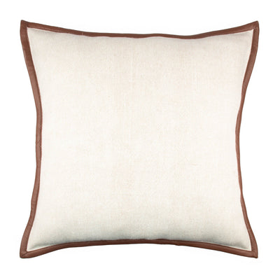 Stonewashed Heavy Linen Leather trim Pillow cover Front+Back-Linen | 23201