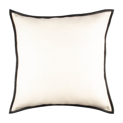 Basketweave Matka Silk Leather trim Pillow cover Front+Back-Silk | 23202
