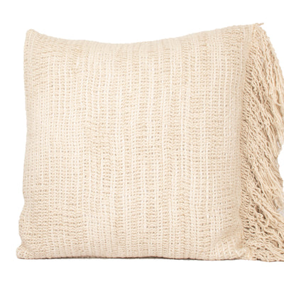 Stone washed Natural Heavy Linen Fringed Pillow cover Front+Back-Cotton Linen | 23241