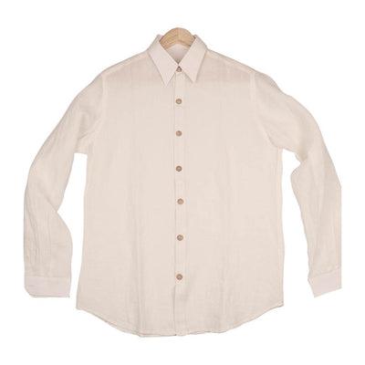 White Washed  Linen Full Sleeves Shirt  | 31001101