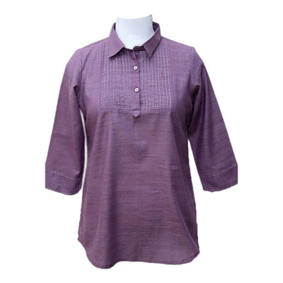 Purple Pintuck Cotton blended Top | 31029101