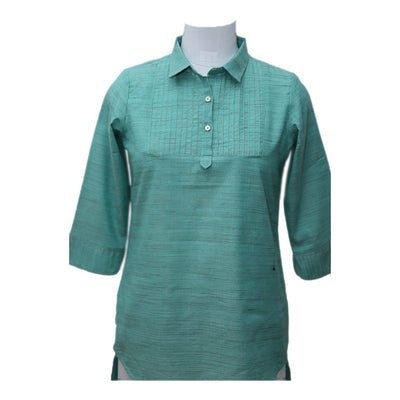 Green Pintuck Cotton blended Top | 31029102
