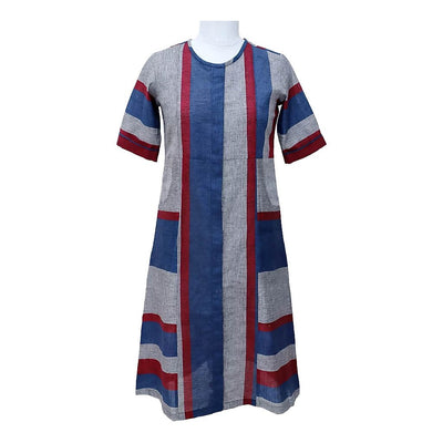 Blue Nautical Stripe Linen Cotton Dress | 31031101