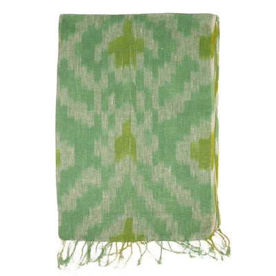 Green Hand-dyed Ikat Linen Scarf | 41023102