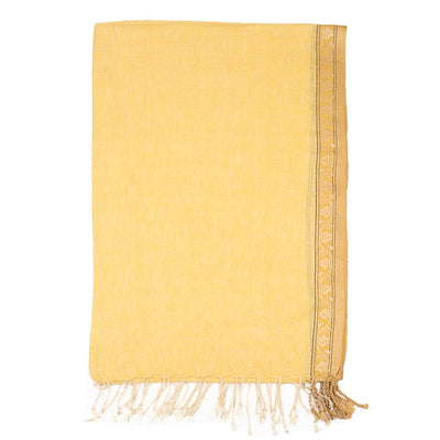 Yellow Jacquard weave Linen Scarf | 41049102