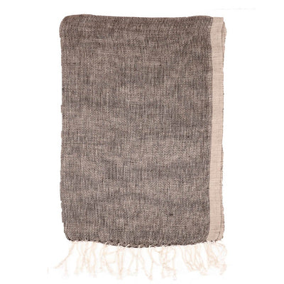 Black Knitted weave Linen Scarf | 41057101