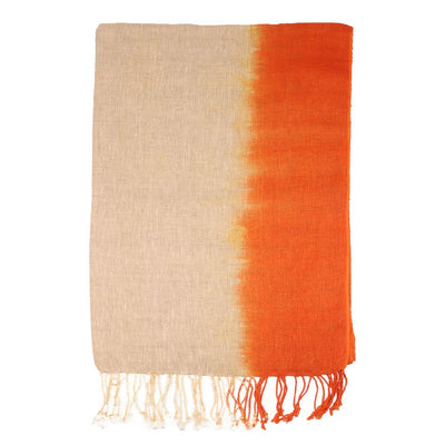 Orange Hand Ombre Linen Scarf | 41123102