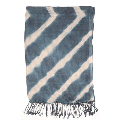 Blue Knitted weave Linen Scarf | 41125102