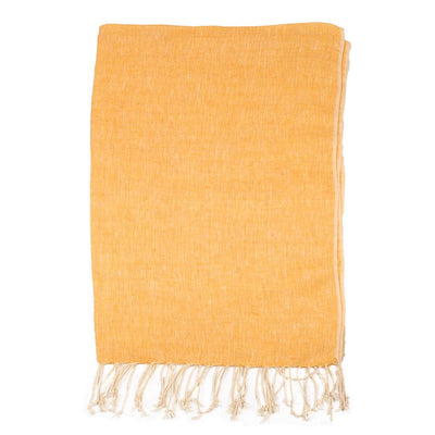Yellow Plain weave Linen Scarf | 42089102