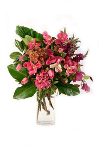 TALL HAND HELD BOUQUET AND FEATURE VASE ARRANGEMENT: SATURDAY OCT 31ST 9AM-NOON