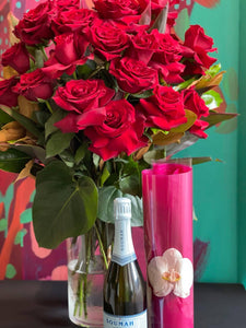 VALENTINES DAY 2 DOZEN RED ROSES ARRANGEMENT WITH SPARKING WINE