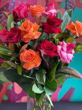 Load image into Gallery viewer, VALENTINES DAY ONE DOZEN COLOURED ROSES IN CLEAR GLASS VASE