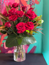 Load image into Gallery viewer, VALENTINES DAY ONE DOZEN RED ROSE ARRANGEMENT AND SPARKLING WINE