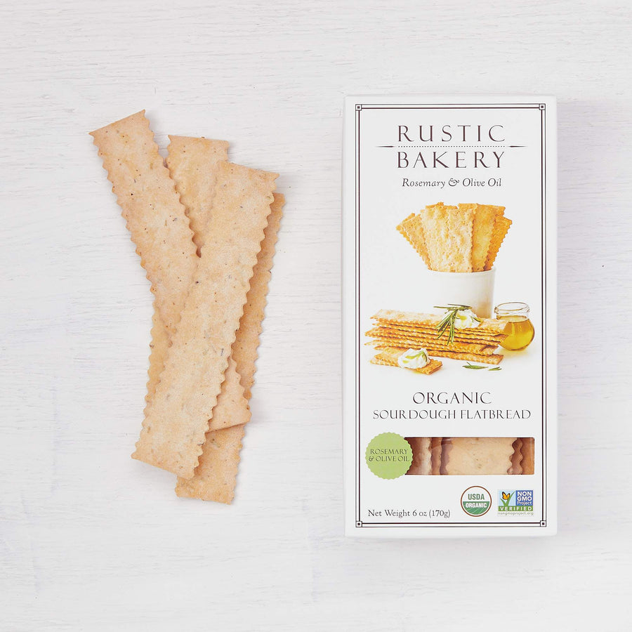 Rustic Bakery - Organic Sourdough Flatbread Crackers - Rosemary & Olive Oil - 6oz Box