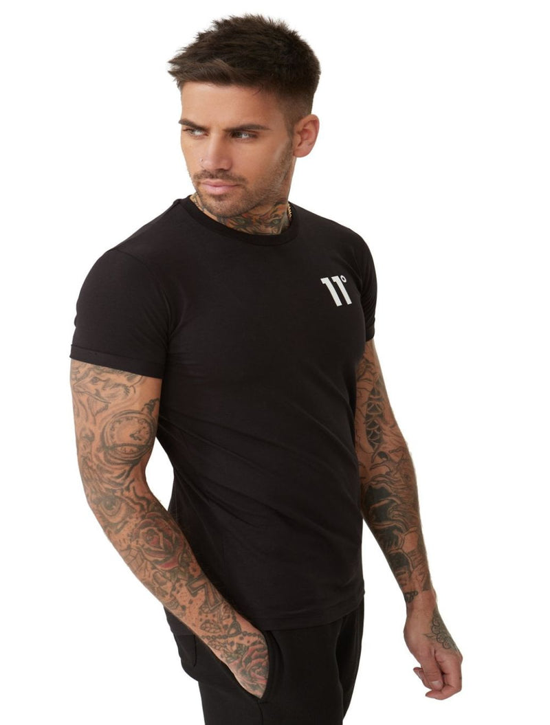 11 Degrees - Core Muscle Fitted T-Shirt - White & Black