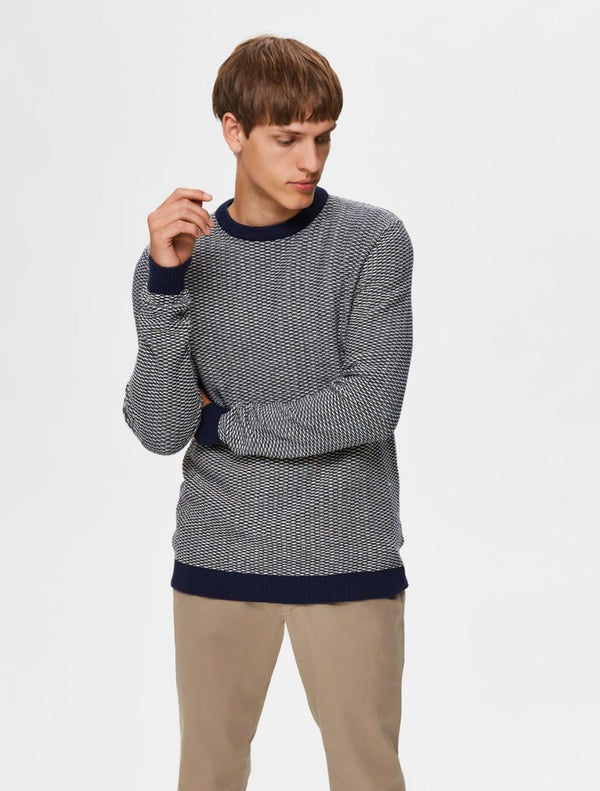 Selected - Haiden Crew Knit - Navy Fleck