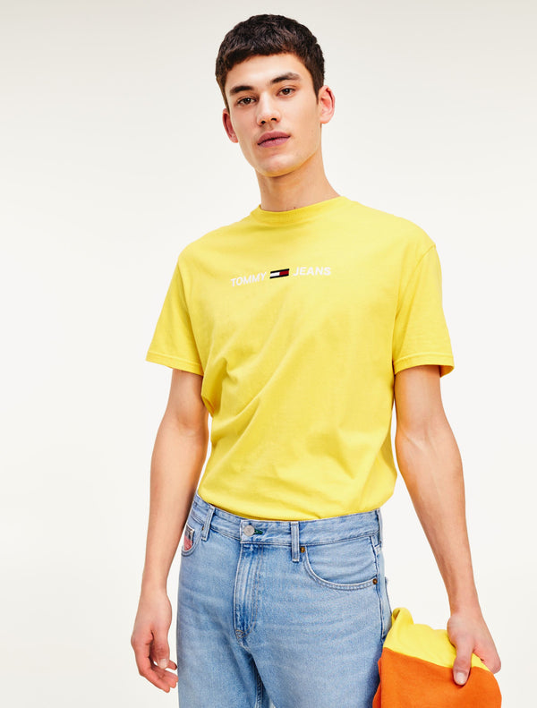 Tommy Jeans - Straight Logo Tee - Yellow