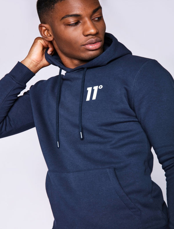 11 Degrees - Pullover Hoodie - Navy & White