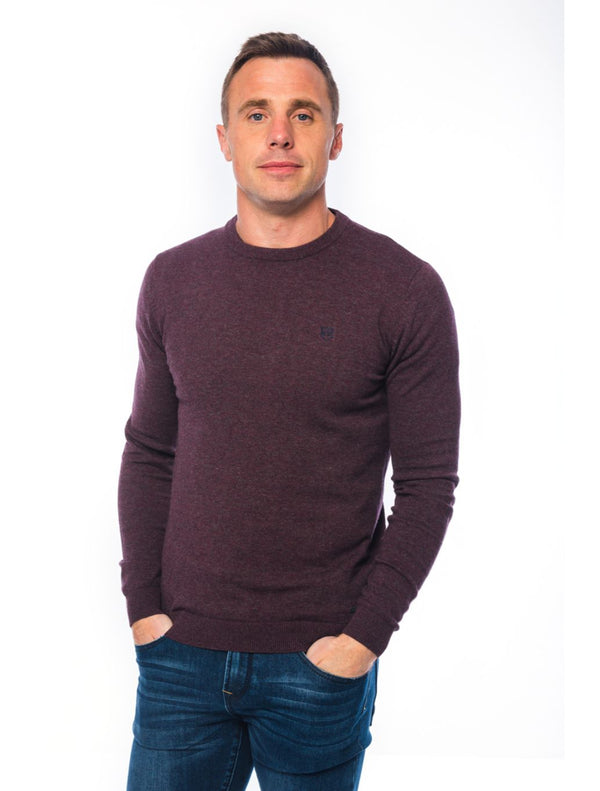 XV Kings – Finvalley Round Neck Knit – Burgundy & Navy