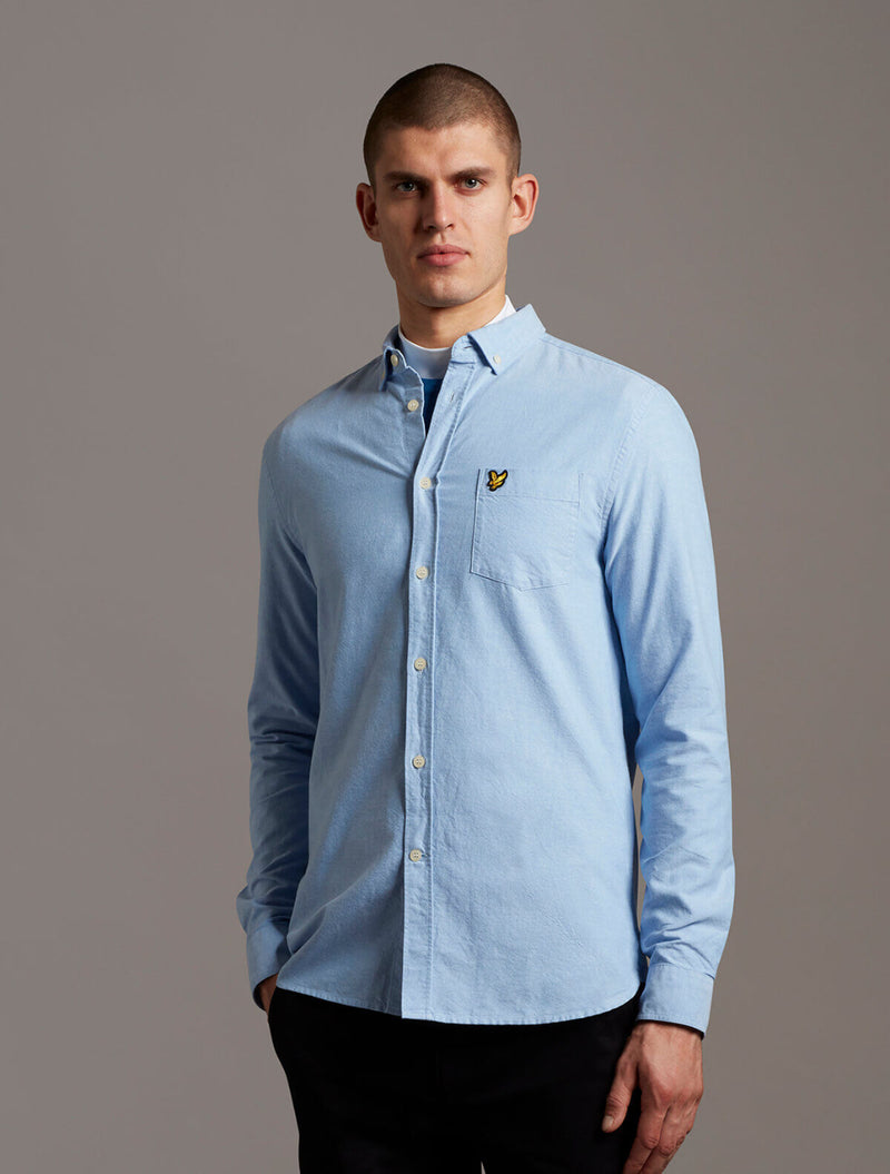 Lyle & Scott - Oxford Cotton Long Sleeve Shirt - Light Blue & Burgundy