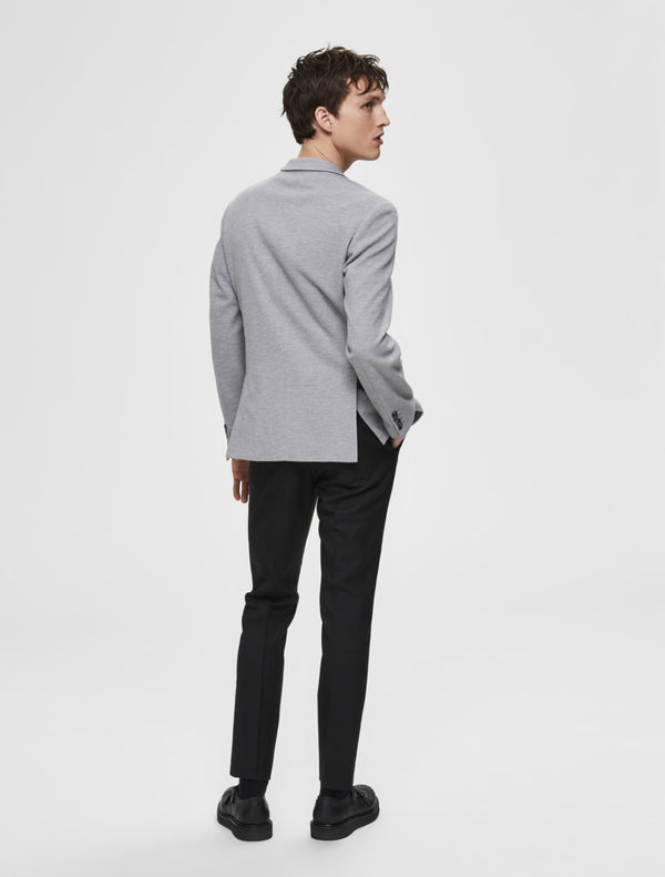 Selected - Matt Fitted Suit Blazer - Light Grey
