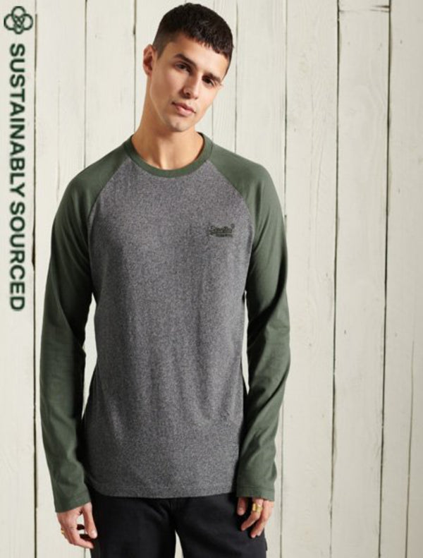 Superdry - Long Sleeve Baseball T-Shirt - Black/Khaki